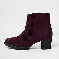 Girls dark red military pom pom ankle boots
