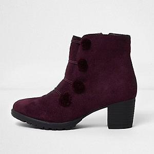 Girls dark red military pom pom ankle boots