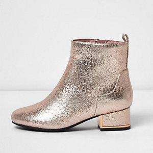 Goudkleurig metallic laarzen met blokhak voor meisjes