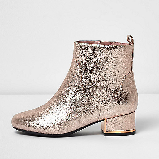 Girls gold metallic block heel boots