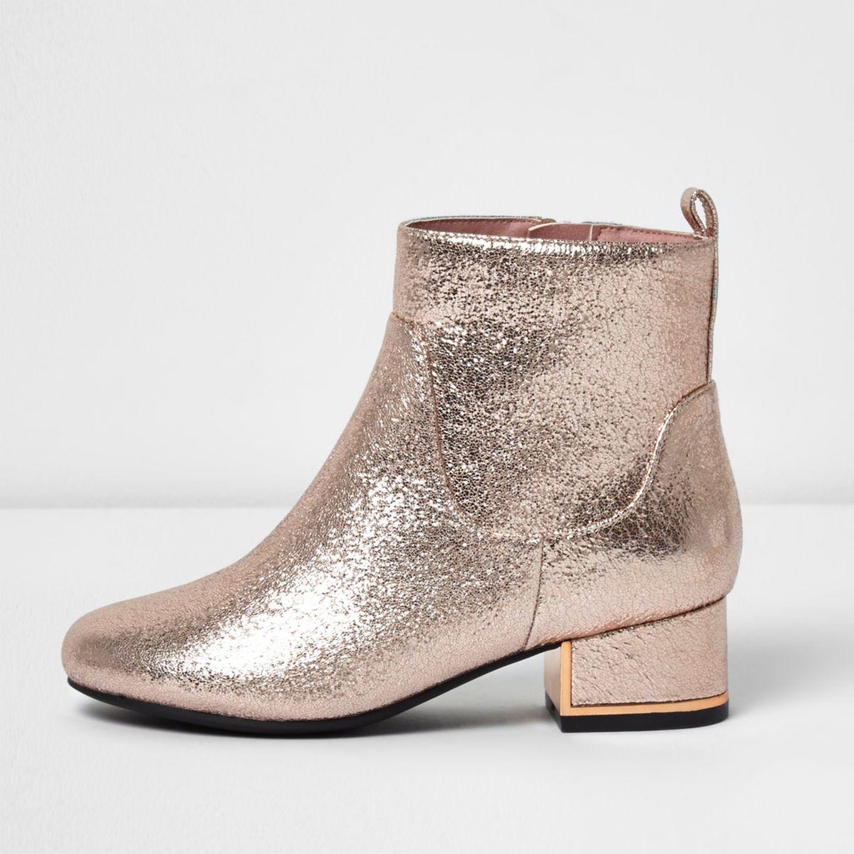 Bottes doré métallisé à talons carrés pour fille