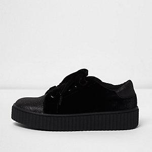 Schwarze Sneaker aus Samt mit Glitzer