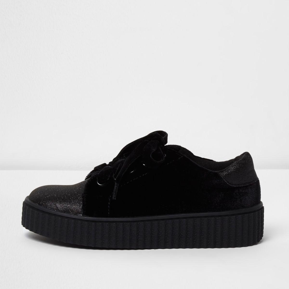 Girls black velvet glitter chunky sneakers
