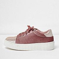 Girls pink velvet glitter chunky sneakers