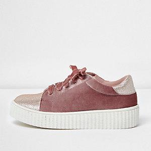 Girls pink velvet glitter chunky trainers
