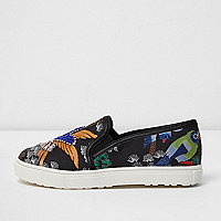 Girls black oriental embellished plimsolls