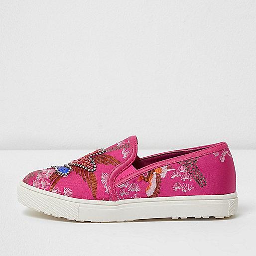 Girls pink oriental embellished plimsolls