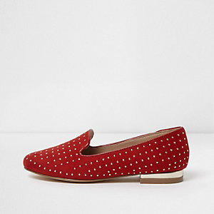 Girls red studded slippers