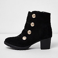 Girls black military stud block heel boots