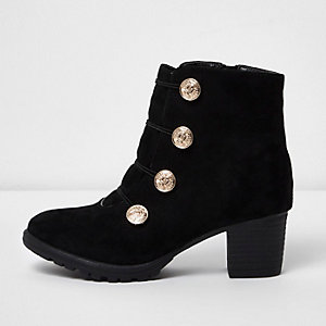Girls black military stud block heel boots