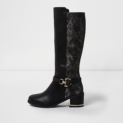 Girls black lace panel back knee high boots