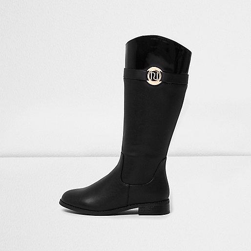 Girls black knee-high boots