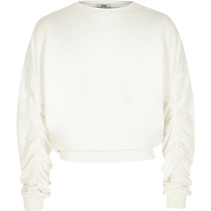 Girls cream ruched sleeve sweatshirt