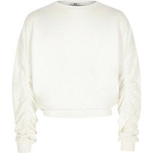 Girls cream ruched sleeve sweatshirt
