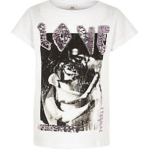 T-shirt boyfriend blanc avec inscription love en sequins pour fille