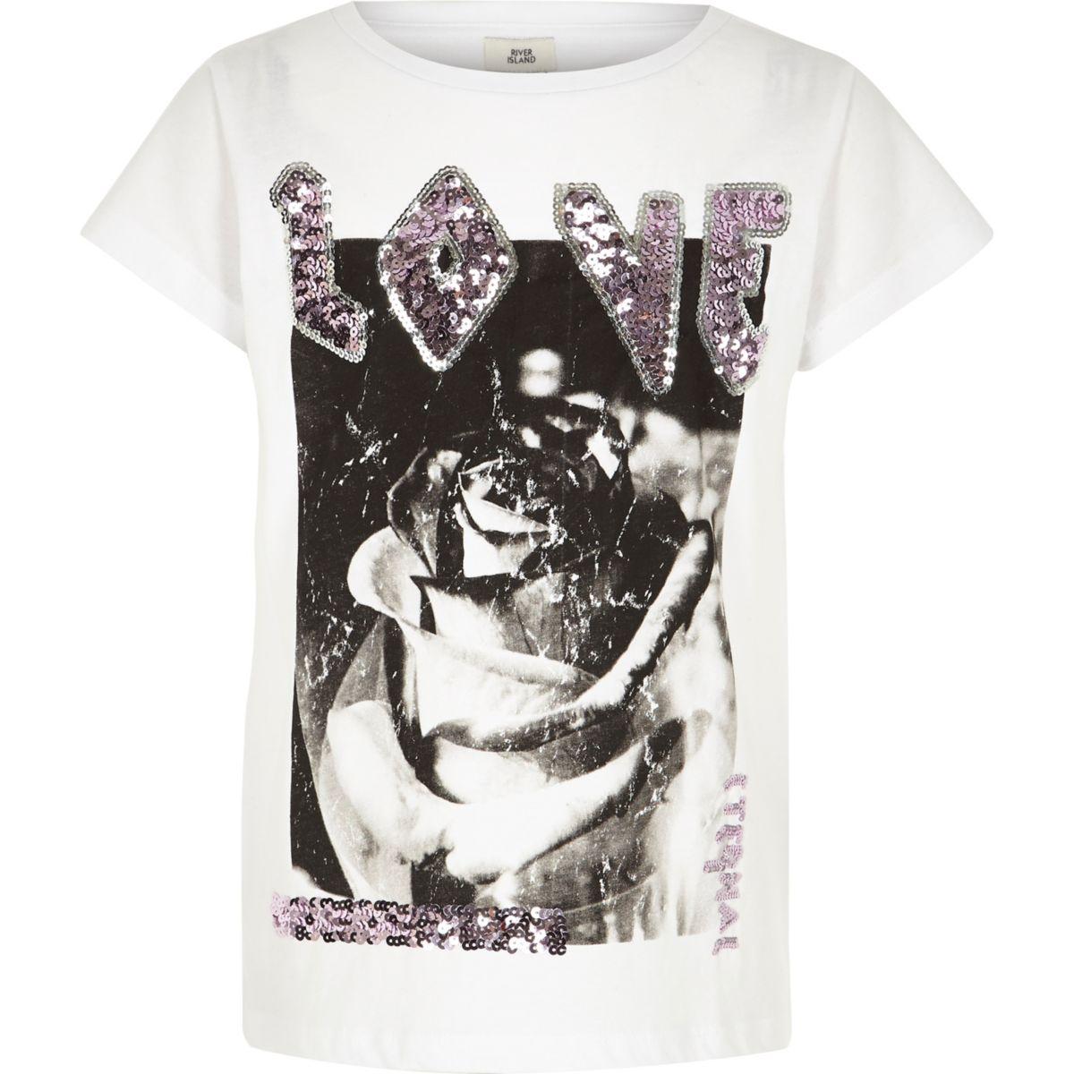 Girls white 'love' sequin boyfriend T-shirt