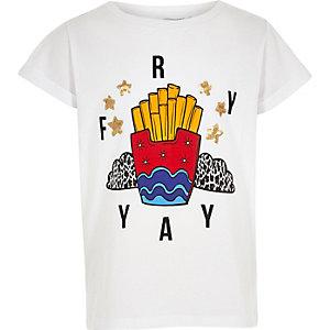 T-shirt boyfriend imprimé Fry Yay blanc pour fille