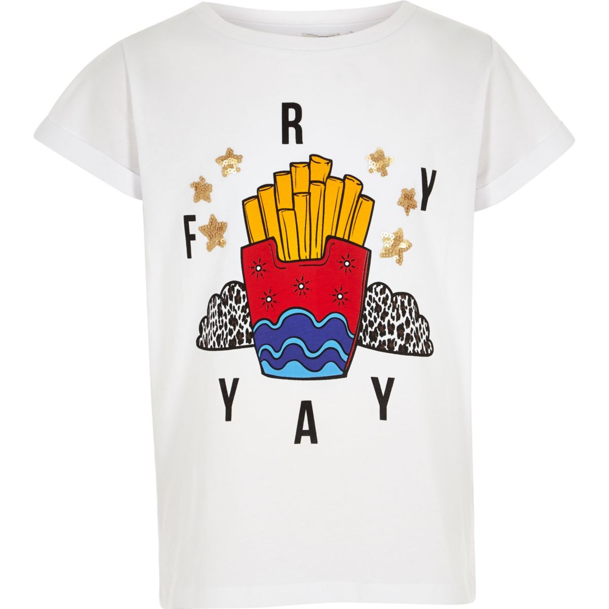 Girls white 'fry yay' print boyfriend T-shirt