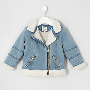 Mini girls blue fleece denim biker jacket