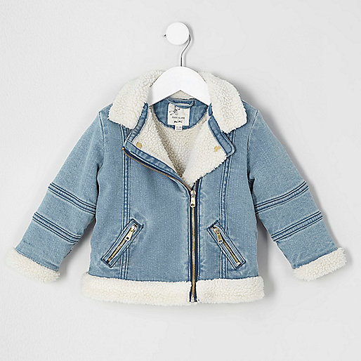 Mini girls blue fleece denim biker jacket