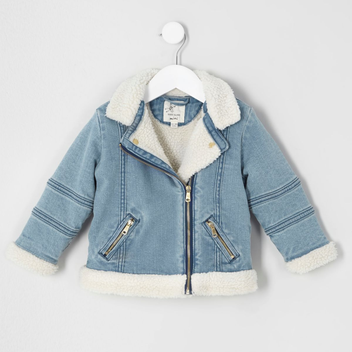 Mini girls blue borg denim biker jacket