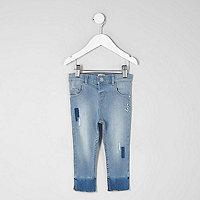 Mini girls blue patch Amelie skinny jeans