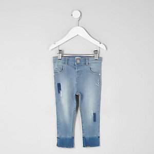 Mini - Amelie - Blauwe skinny jeans met patches voor meisjes