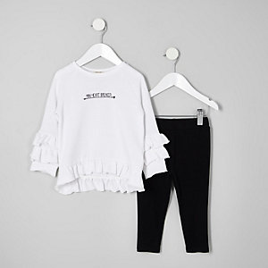 Tenue avec sweat blanc à volant mini fille