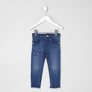 Mini girls dark blue ripped Amelie jeans