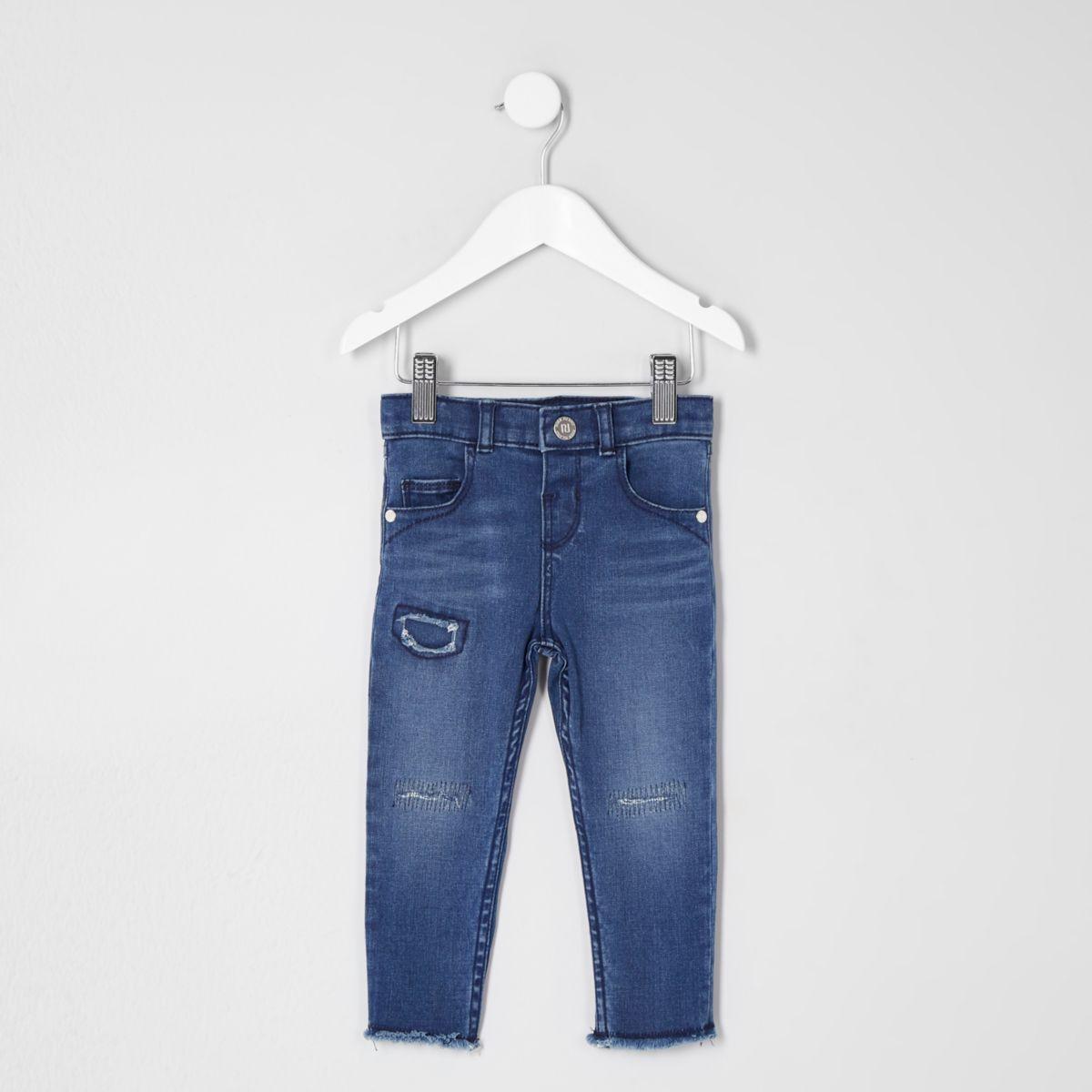 Mini girls dark blue ripped Amelie jeans