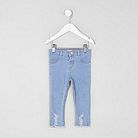 Mini girls blue distressed hem jeggings