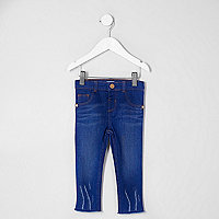 Mini girls blue distressed hem Molly jeggings