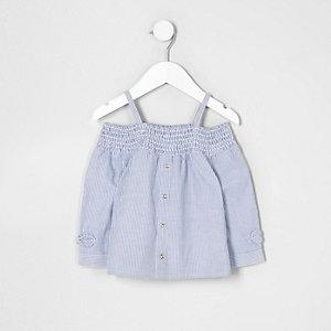 Top Bardot rayé bleu avec nœud mini fille