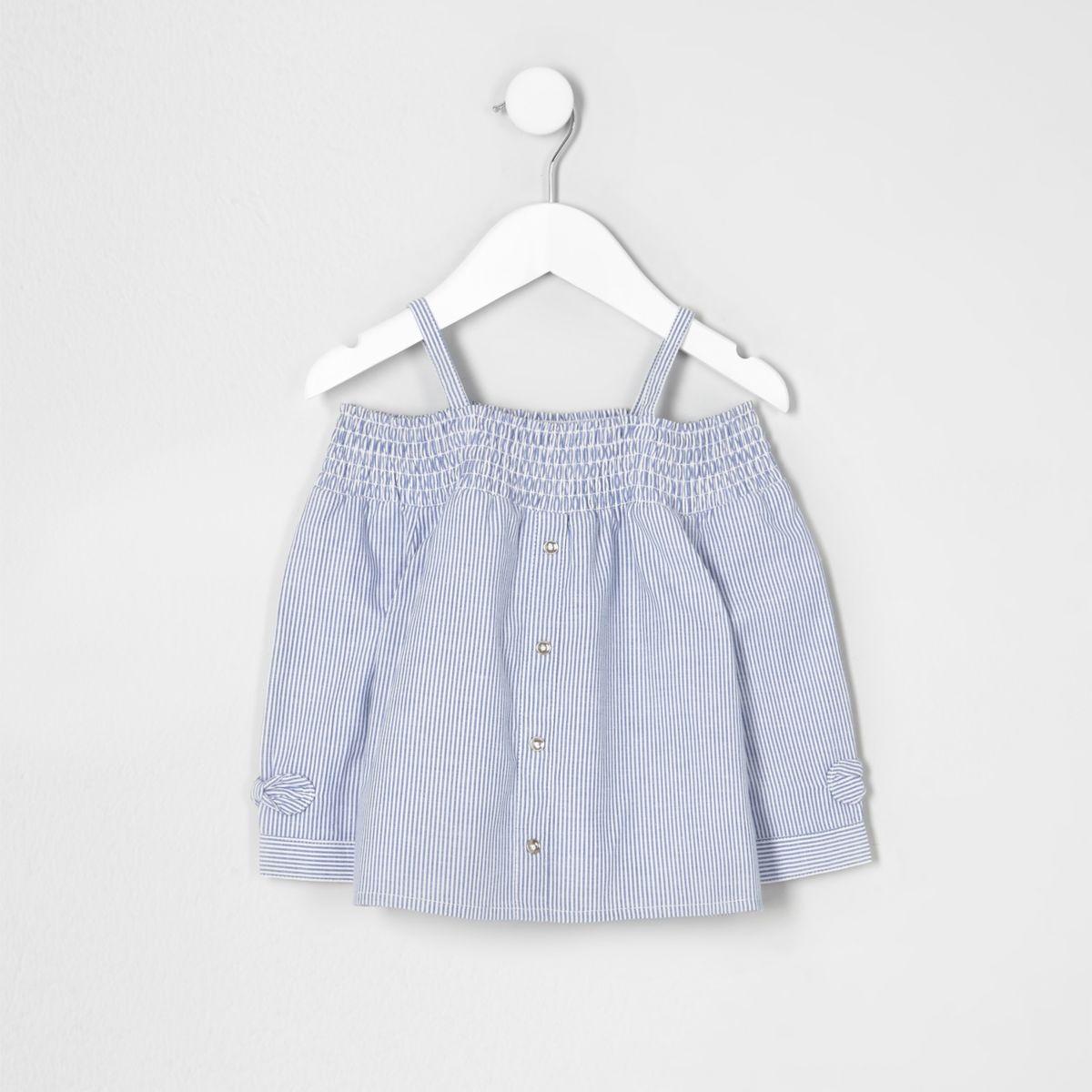 Mini girls blue stripe bardot bow top