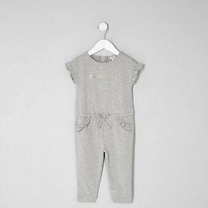 Mini girls grey marl jersey frill jumpsuit