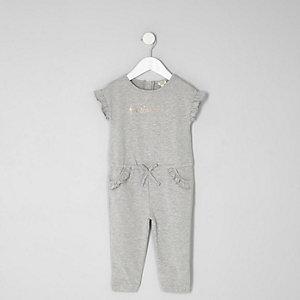 Combinaison en jersey gris chiné à volants mini fille