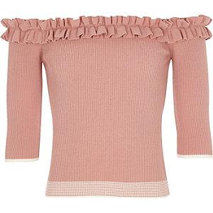 Pinkes Bardot-Oberteil mit Rüschen