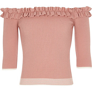 Girls pink knit tipped frill bardot top