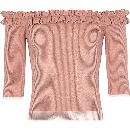 Girls pink knit tipped frill bardot top
