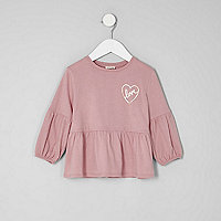 Mini girls pink balloon sleeve peplum top