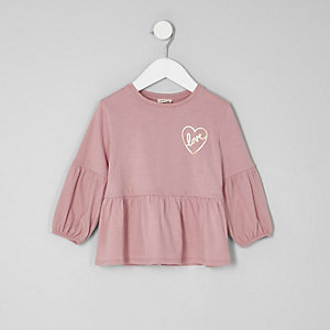 Mini girls pink balloon sleeve peplum top