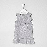 Mini girls grey ruffle jersey shift dress