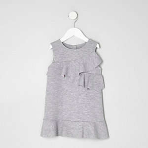 Mini girls grey ruffle jersey shift dress