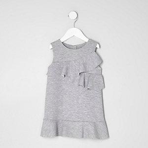 Robe droite en jersey grise à volants mini fille
