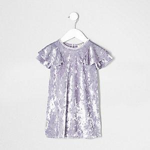 Robe droite en velours violet à volant mini fille