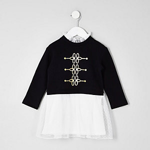Mini girls black military mesh frill dress