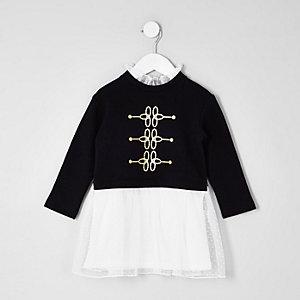 Mini girls black military mesh frill dress