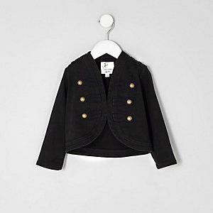 Mini girls black drummer boy jacket