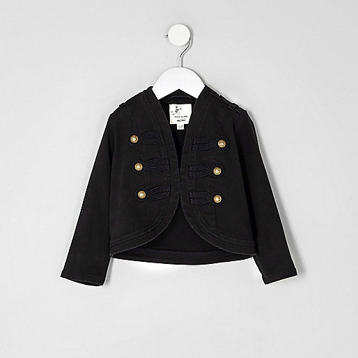 Mini girls black drummer boy jacket