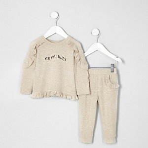 Mini - Outfit met crème pullover met ruches voor meisjes